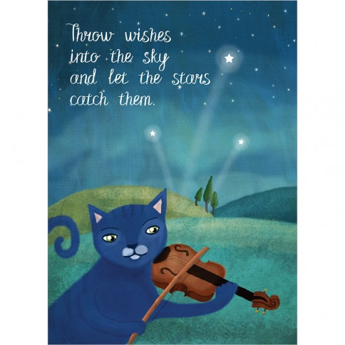 Front of blue card-blue cat playing violin-text 'Throw wishes into the sky and let the stars catch them'