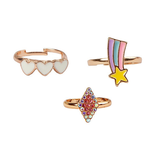 Set of 3 gold-colored child's dress-up rings-3 white enamel hearts, a sparkly shooting star &  crystal-studded diamond shape
