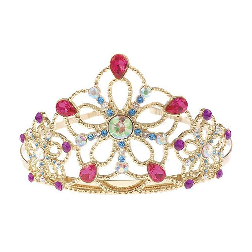 Fancy metallic child sized princess tiara with large pink beads and smaller green and blue beads in intricate pattern