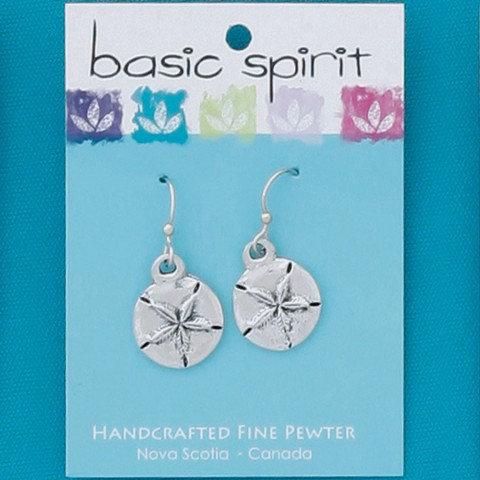 Basic Spirit Pewter Sand Dollar Earrings - small size