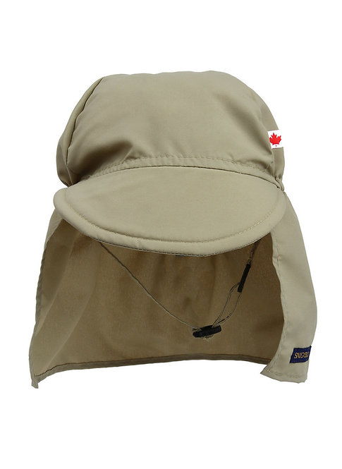 Front view of Child's tan cap style sun hat with peaked brim in front & long fabric attachment to cover neck & ears