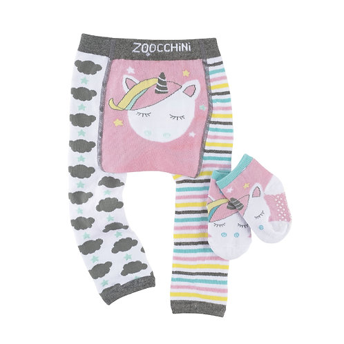 Baby leggings & sock set, one leg white with black clouds, the other leg pink-blue-yellow-black-stripes, white unicorn on bum