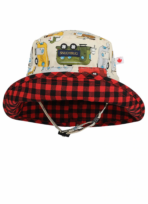 Beige sun hat with red, yellow and green cars, truck and camper trailers, inside of turned up brim is red & black checks
