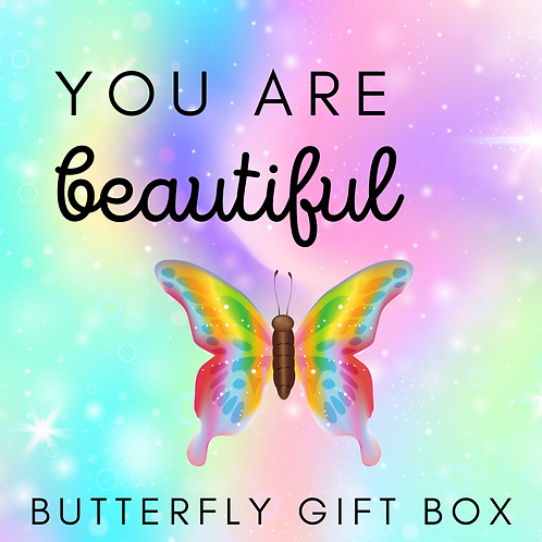 You Are Beautiful Butterfly Gift Box pastel image of butterfly