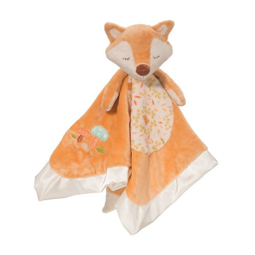 Soft square satin-bound blanket orange color with stuffed head & legs sewn into the center to form a fox doll, hanging