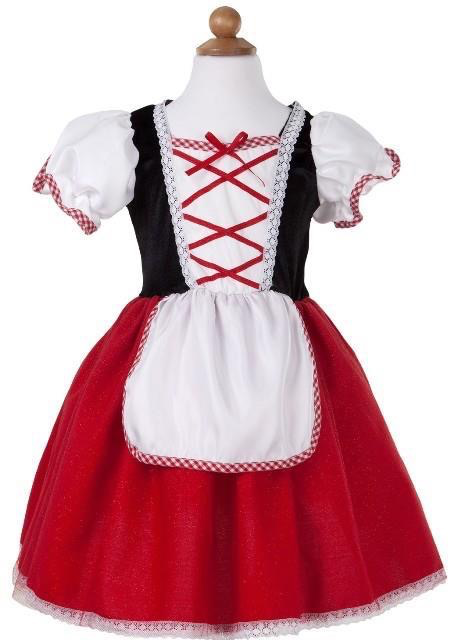 front view of red, black & white dress-up dress