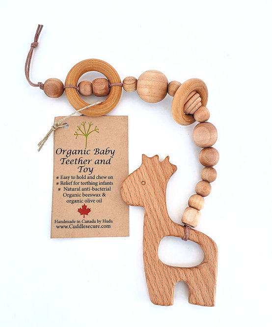 Various shapes of wooden beads strung on cord for hanging with animal shape