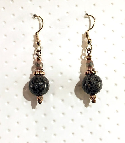 Rose Gold earrings with 10mm snowflake jasper stones