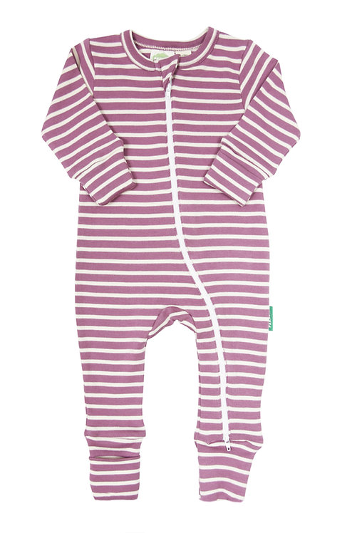 one piece baby sleeper plum with horizontal white stripes-zipper from neck to ankle of 1 leg