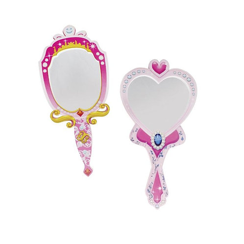 2 pink & gold hard foam play mirrors - one oval, one heart shaped with handles