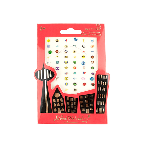 Package of 50 nail stickers with superhero theme
