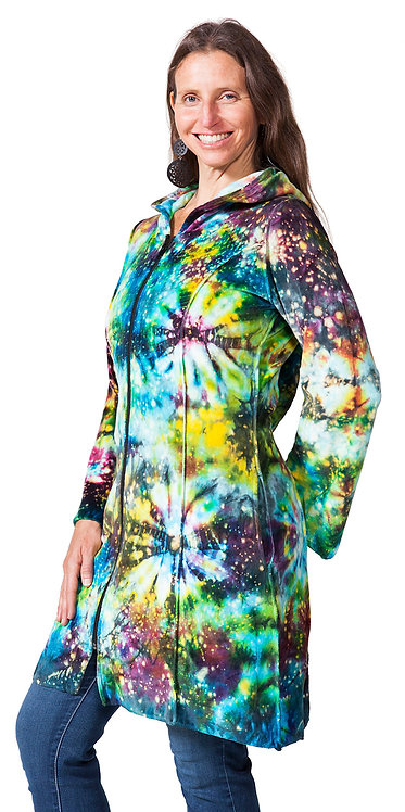 Front view of model wearing long tie-dye hooded, zipped jacket-2 side pockets-vivid yellow-aqua-purple