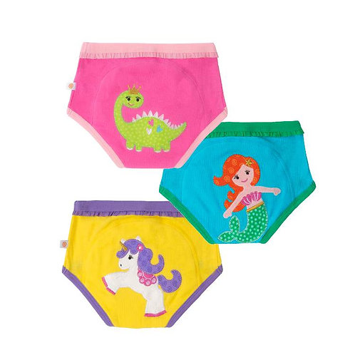 Set of 3 brightly colored training pants with unicorn, mermaid & dino