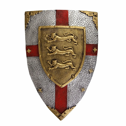 Great Pretenders Lion Shield in metallic gray with bold red cross and gold crest of 3 lions