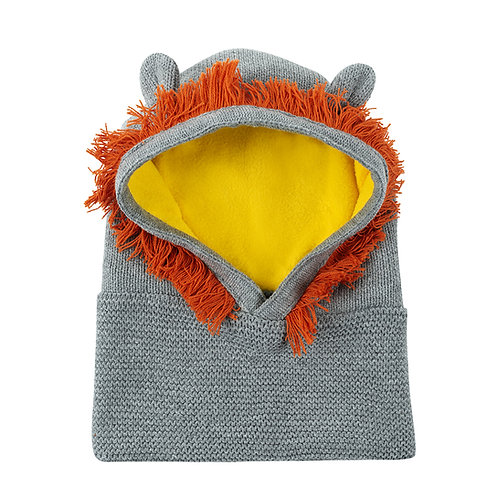 front view of gray knit baby balaclava with yellow lining, orange wool mane around face, gray ears on top