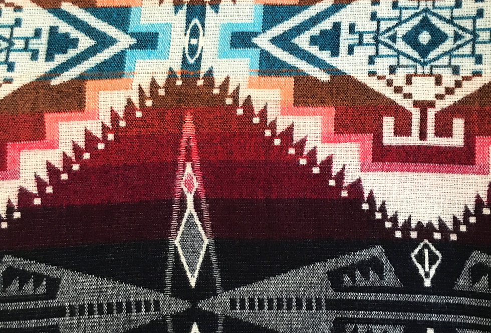 Close up of multi-colored patterned blanket