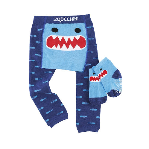 baby's leggings & socks set-navy blue with toothy shark face on the back
