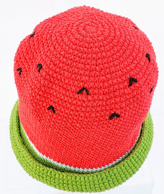 Watermelon Cotton Sun Hat-red, top view