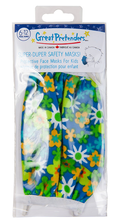 plastic package of blue-green floral print protective mask for kids