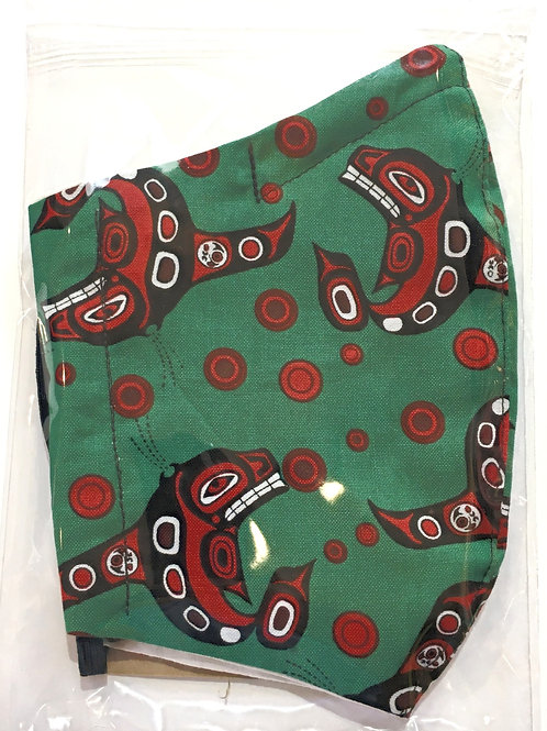 cotton protective mask in plastic sleeve green with Haida whale print