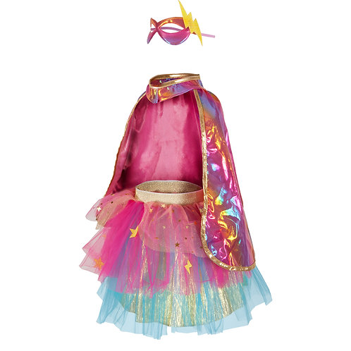 Deluxe satin dress-up costume mask, cape & tutu set in pink and gold
