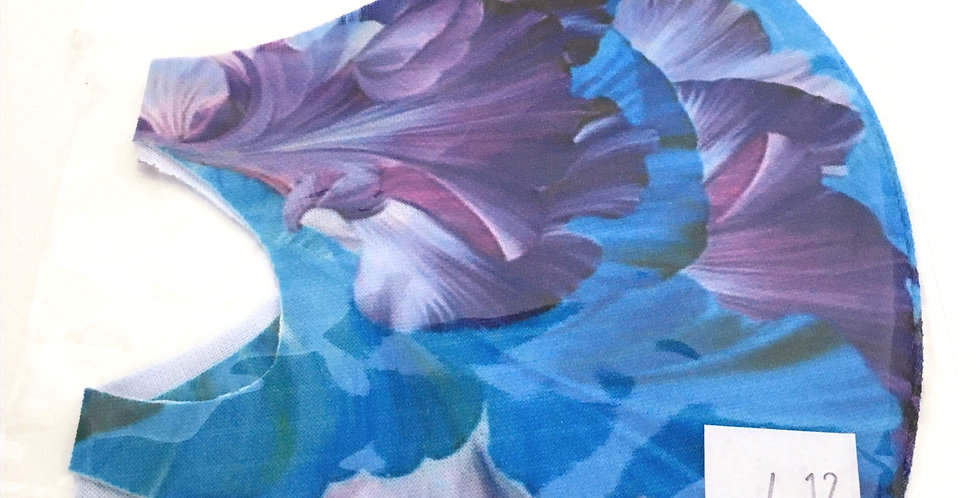 Side view of folded blue and purplelarge floral print mask
