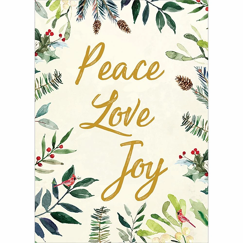 Pale yellow card with holly around edges, gold text, 'Peace Love Joy'