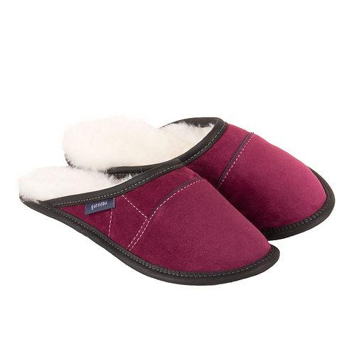 Garneau womens Two Tone Mule Sheepskin Slippers plum