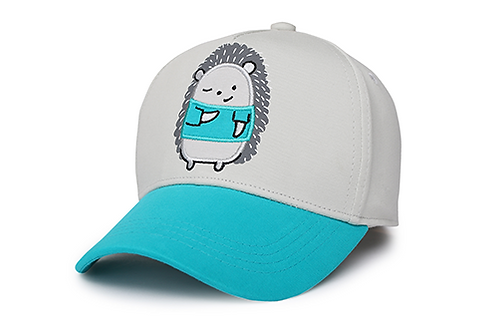 Angled side view of teal & gray kids' ball cap with embroidered hedgehog on front