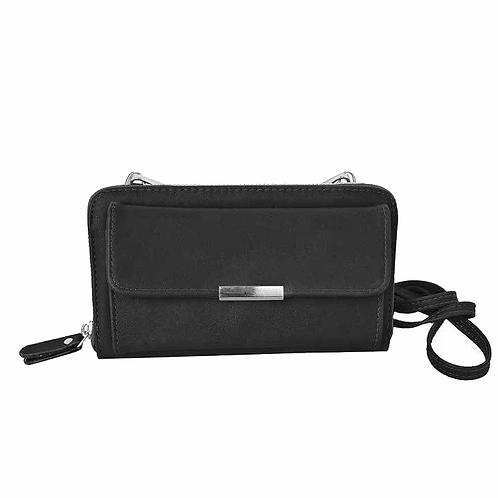 Black wallet-style purse with long shoulder strap & detachable wristlet strap