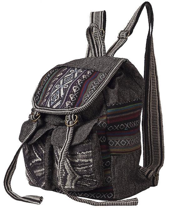 Ark Fair Trade Mandu Knapsack black woven black & white-Nepali print-wide adjustable straps-2 front pockets