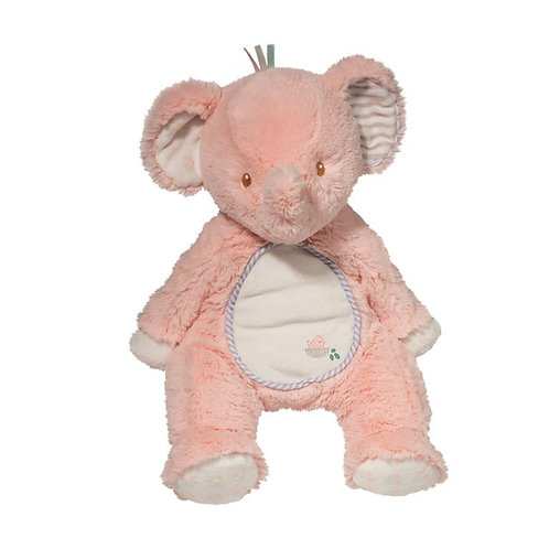 Soft under-stuffed pink and cream colored seated plush toy elephant