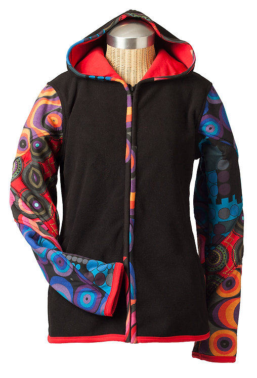 Front view of black cotton hoodie with printed red and blue sleeves and trim-zipper front