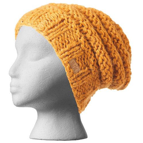 Knit wool slouch hat-honey