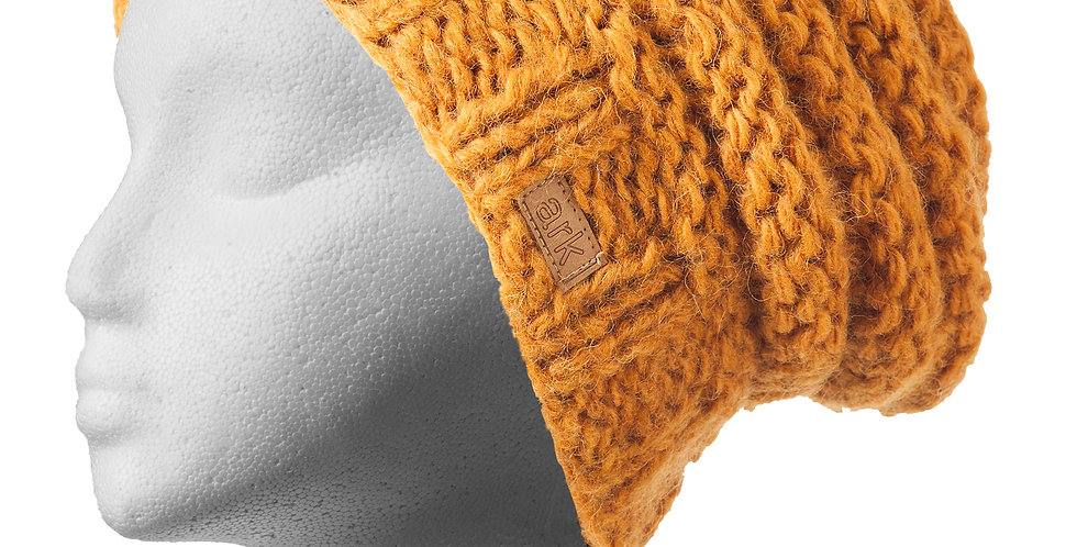 Knit wool slouch hat-honey