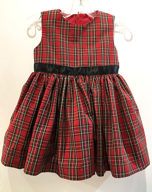 Front view of little girls dress sleeveless-black sash waist-A-line red-green-black plaid-box pleats