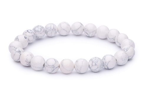 Howlite stone bead stretch bracelet