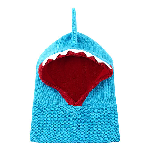 front view of blue knit baby balaclava with red lining, white sharks teeth across the crown & blue fin on top of head