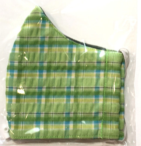 close up of kids cotton protective safety mask green blue plaid print