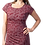 Model short sleeve round neck knee length A-line dress-pleat-like stitching down one side small leaf print light red-dark red