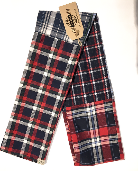 Side 1 of double sided patch flannel scarf, mostly blue, red & white stripes & checks