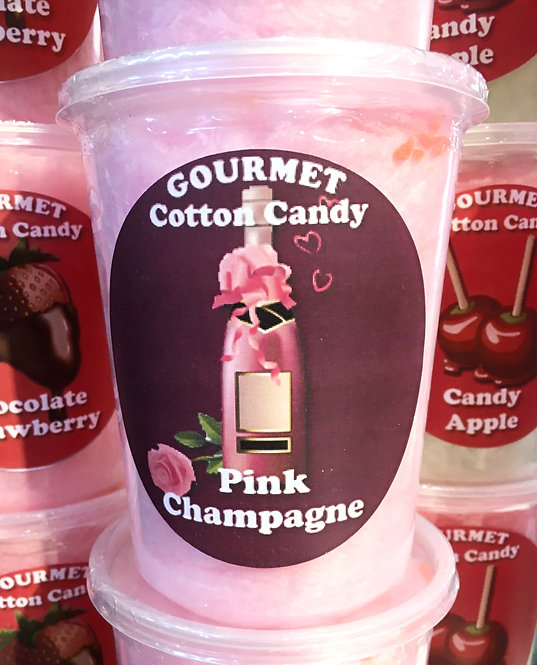 Tub of pink champagne cotton candy
