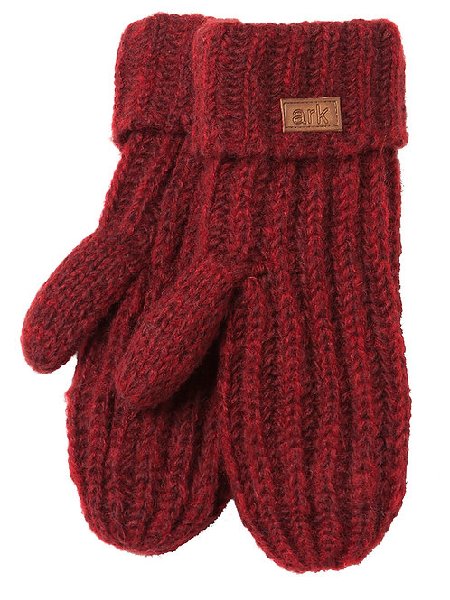 burgundy rib knit wool mitts