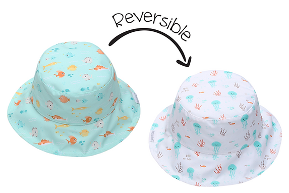 2 in 1 Reversible Patterned Sun Hat - Fish / Jellyfish