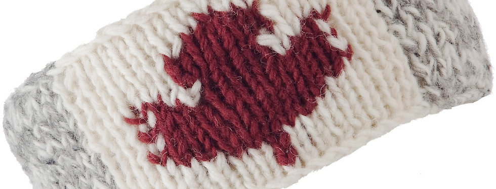 Knitted wool light gray headband white center with red maple leaf