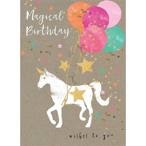 Front of kraft card-white unicorn-gold-stars-bouquet of colorful balloons-text 'Magical birthday wishes to you'