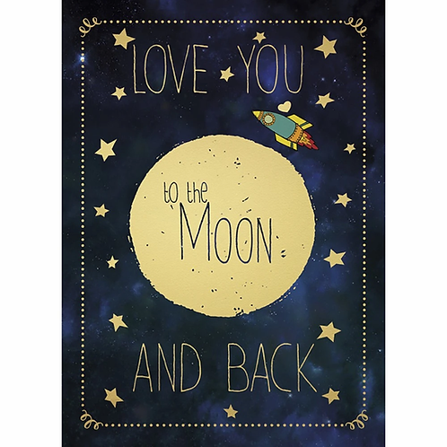 front of card, black with large gold moon & little rocket ship, text 'love you to the moon and back