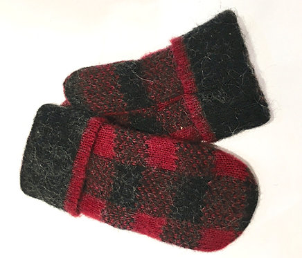 Icelandic Wool Mitts - buffalo check