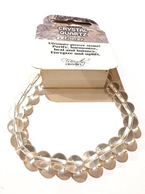 Close up of crystal quartz Natural Stone Bead Stretch Bracelet