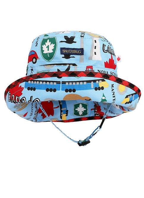 light blue Adjustable Sun Hat printed with many Canadian travel images including cars, trains, highway signs and maple leaves